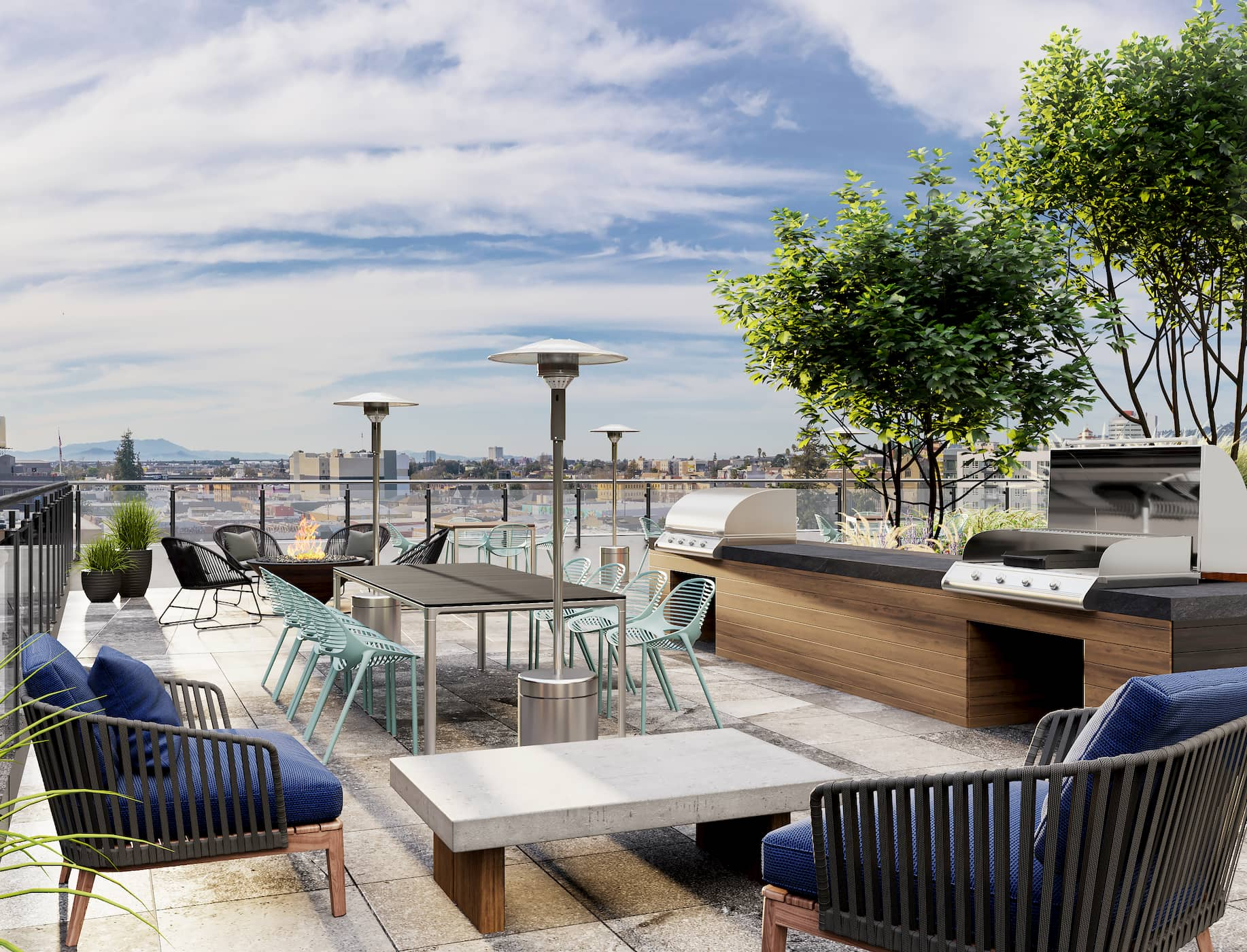 Roof Top with Tables and Chairs at Alta Waverly
